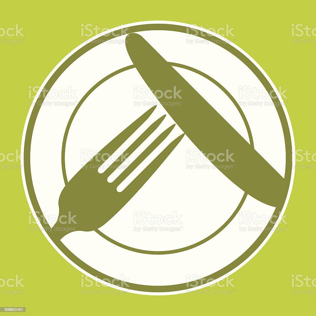 Plate, knife and fork. Restaurant menu design vector art illustration