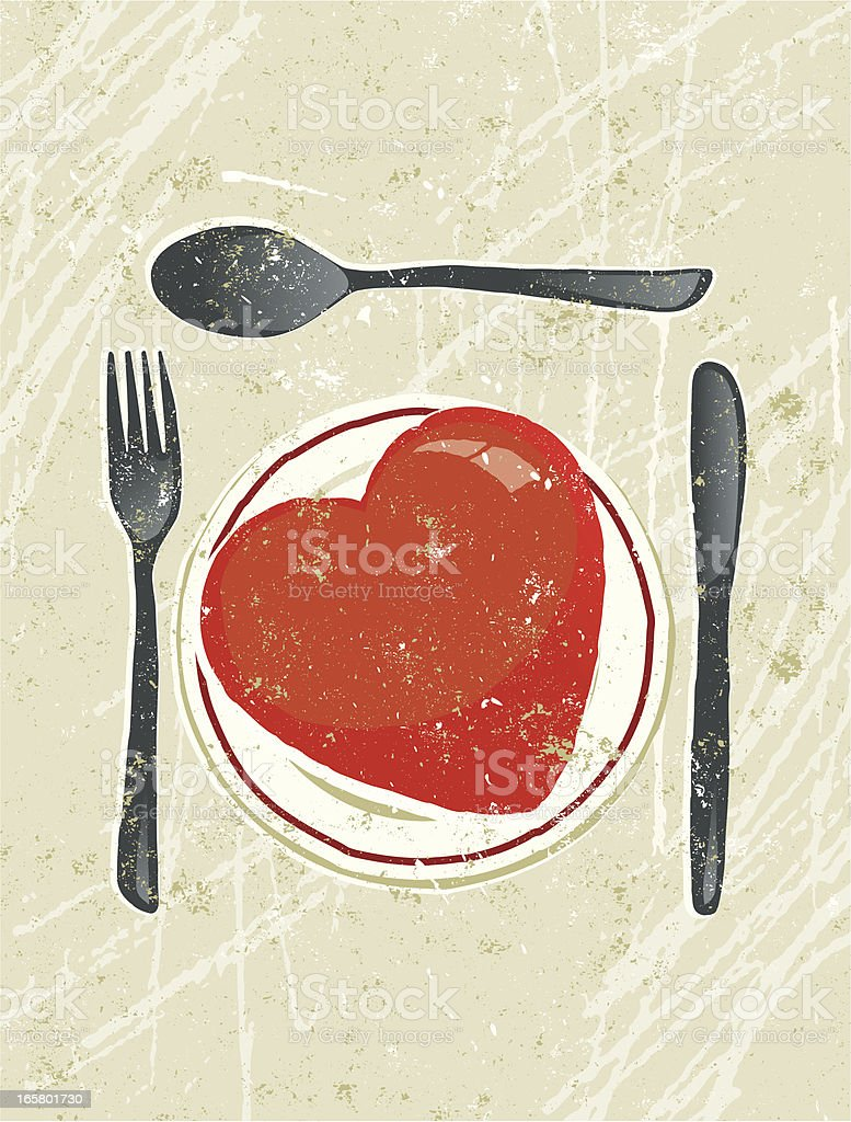 Plate, Knife and Fork with Heart royalty-free stock vector art