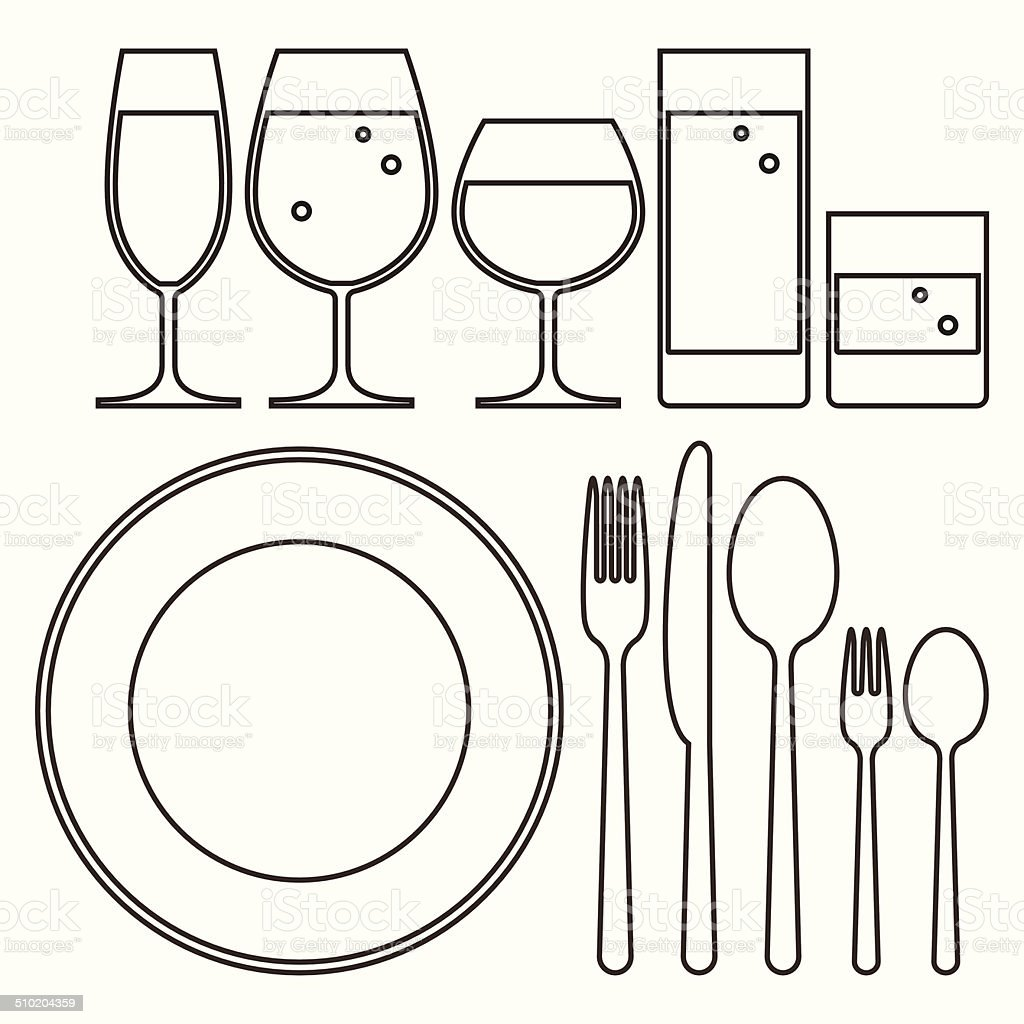 Plate, knife, fork, spoon and drinking glasses vector art illustration