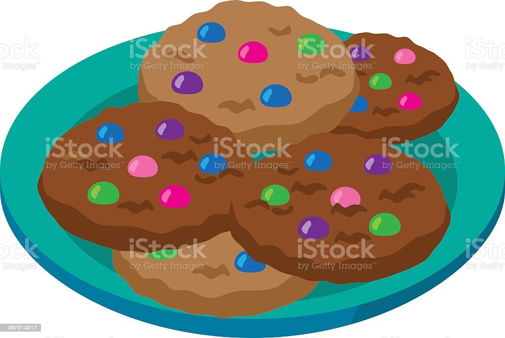 plate of cookies with candy toppings royalty-free stock vector art
