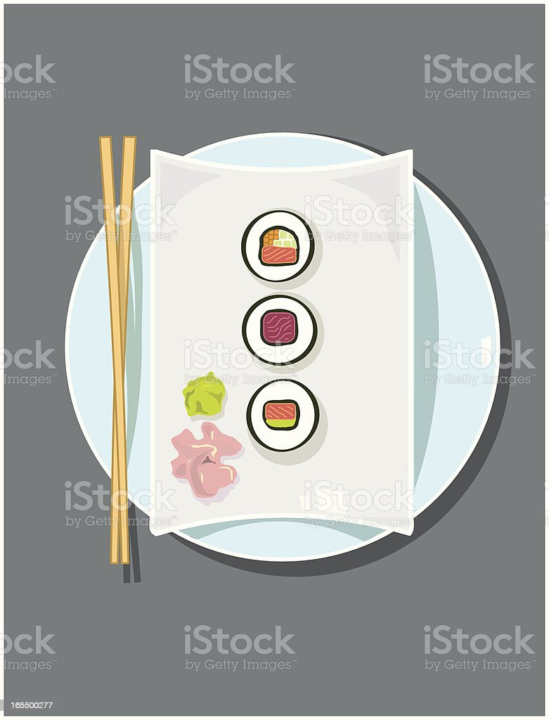Plate of Sushi vector art illustration