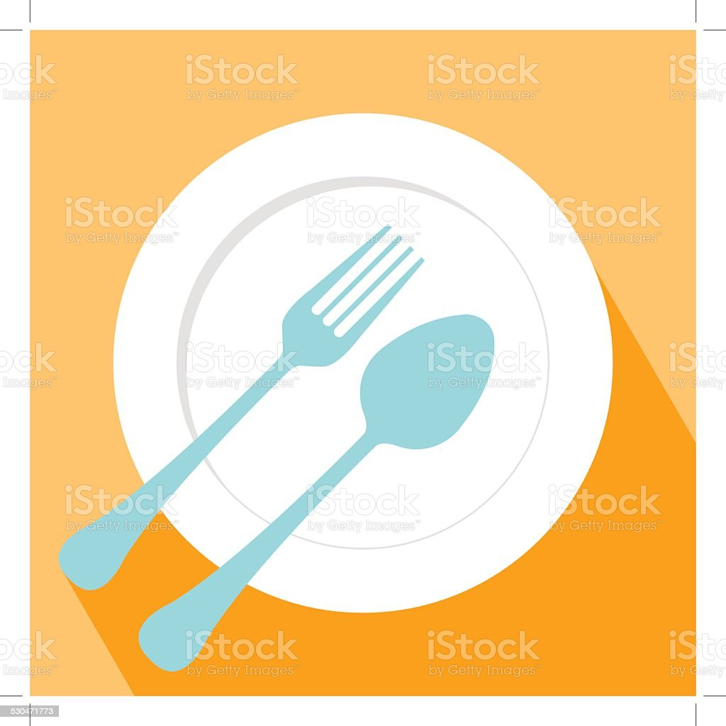 Plate spoon and fork icon vector art illustration