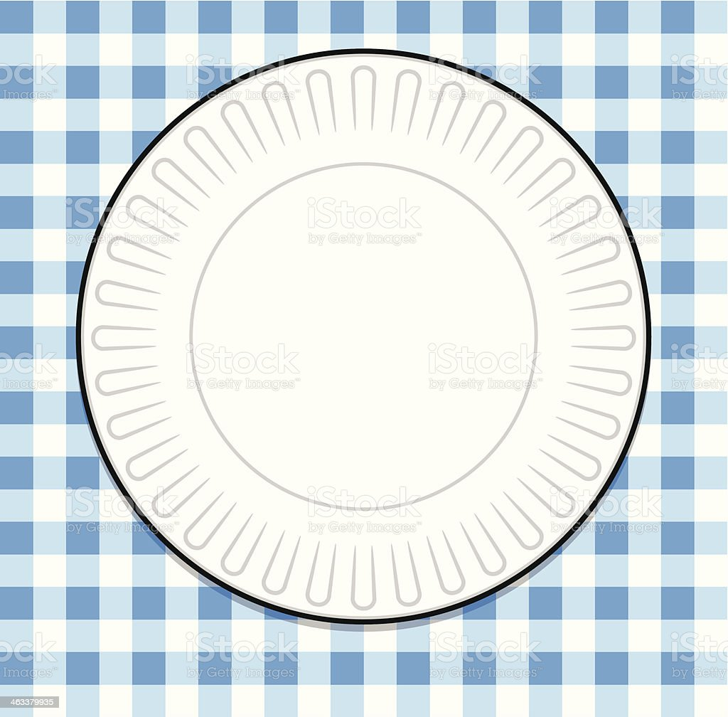 Plate with Blue Picnic Tablecloth vector art illustration