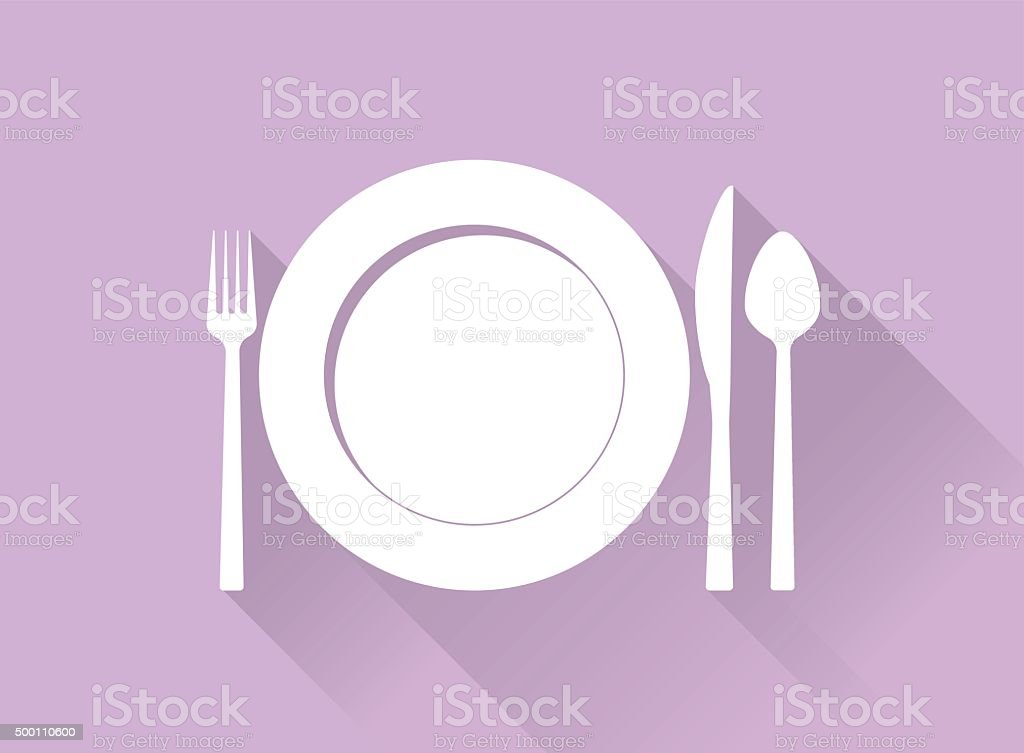 Plate with cutlery and long shadows vector art illustration