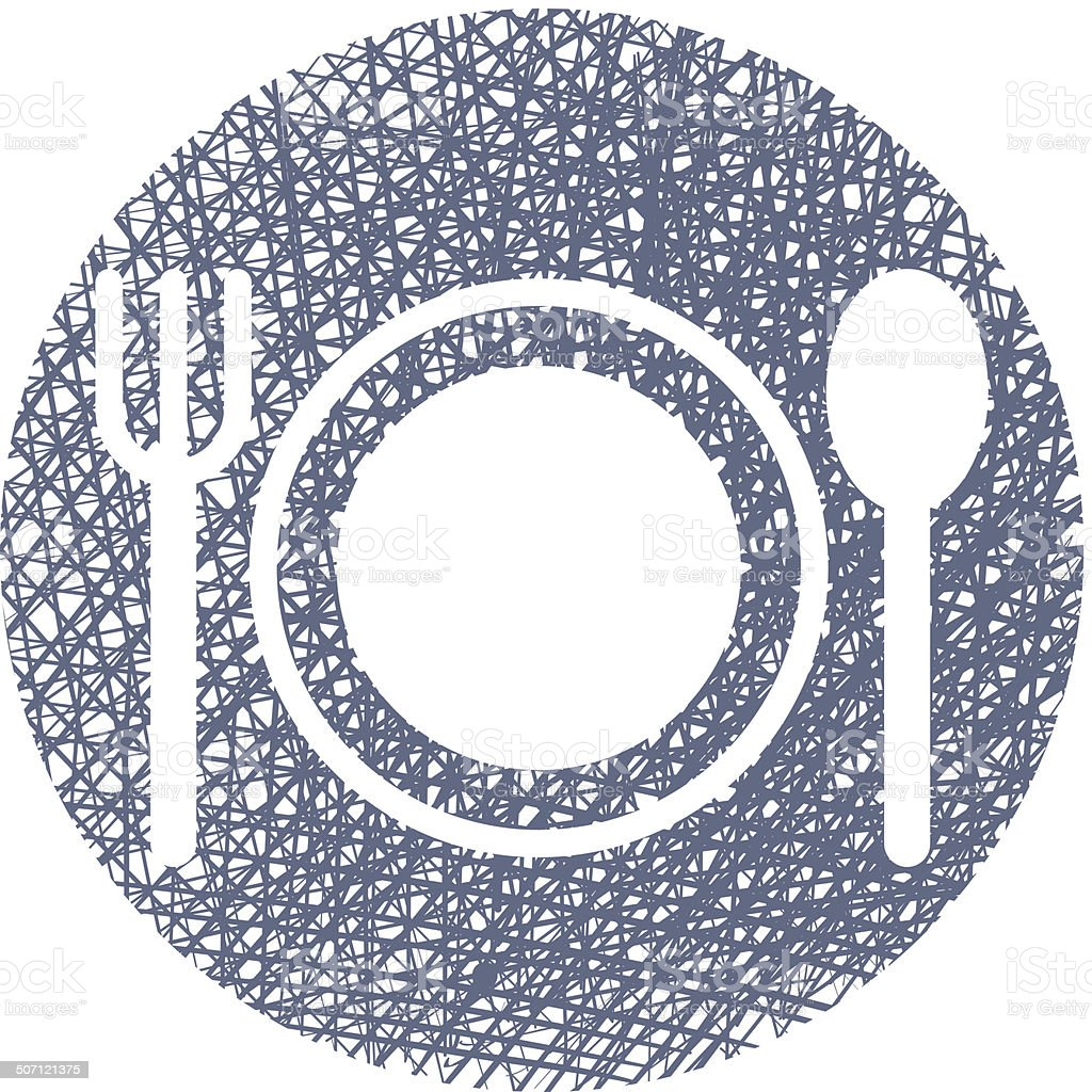 Plate with Cutlery with hand drawn lines texture. royalty-free stock vector art