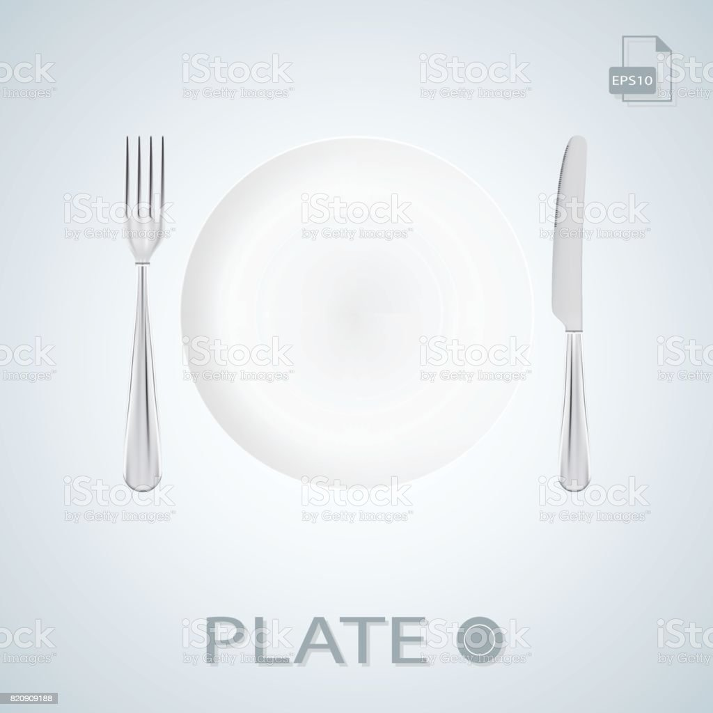 Plate With Fork And Knife Isolated On A Background. Vector Illustration vector art illustration