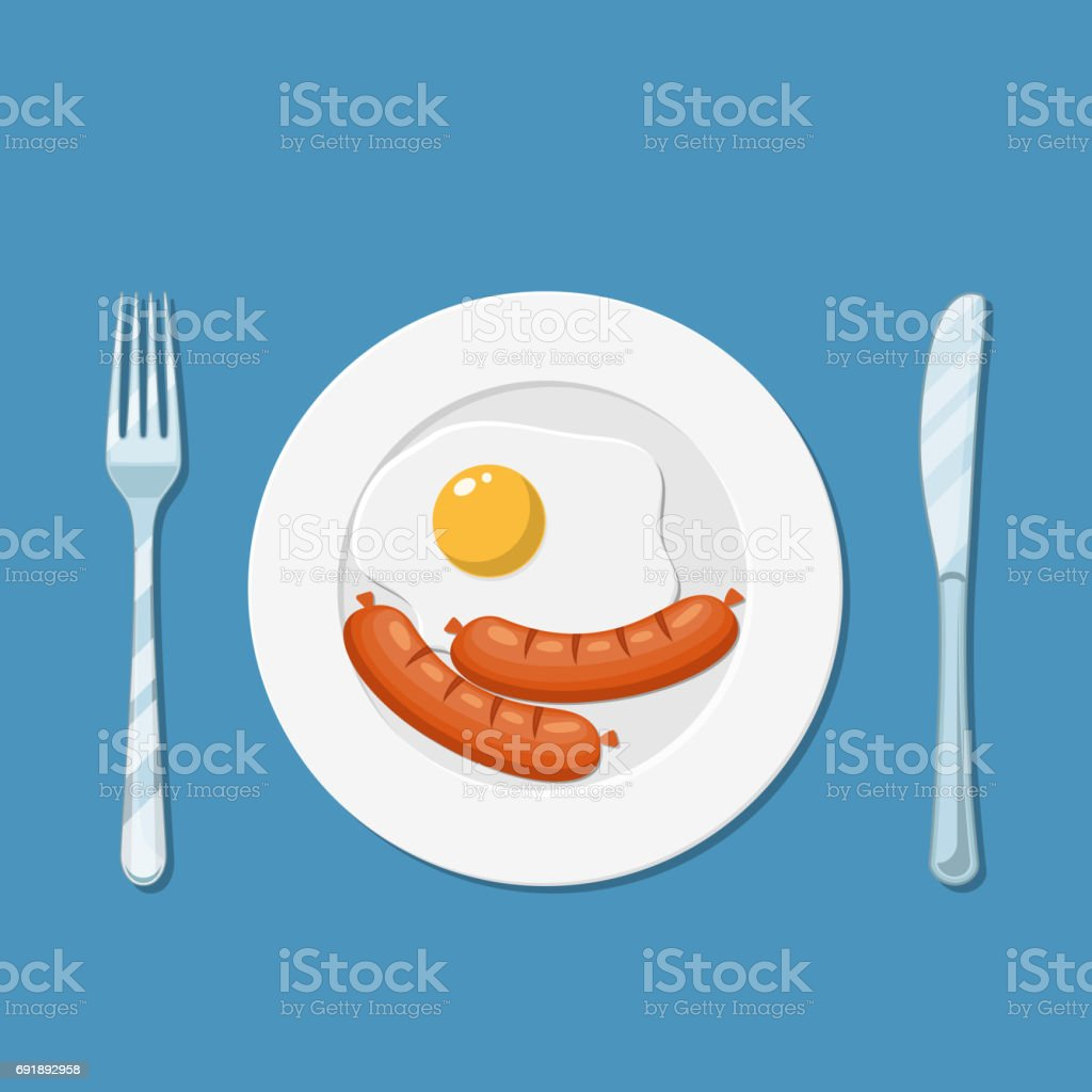 Plate with fried egg icon vector art illustration