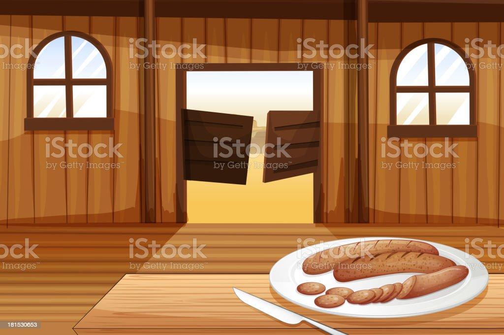 plate with hotdogs vector art illustration