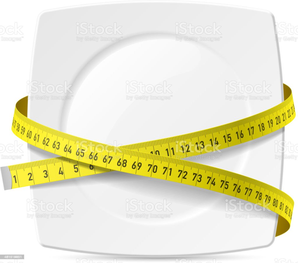 Plate with measuring tape - diet theme vector art illustration