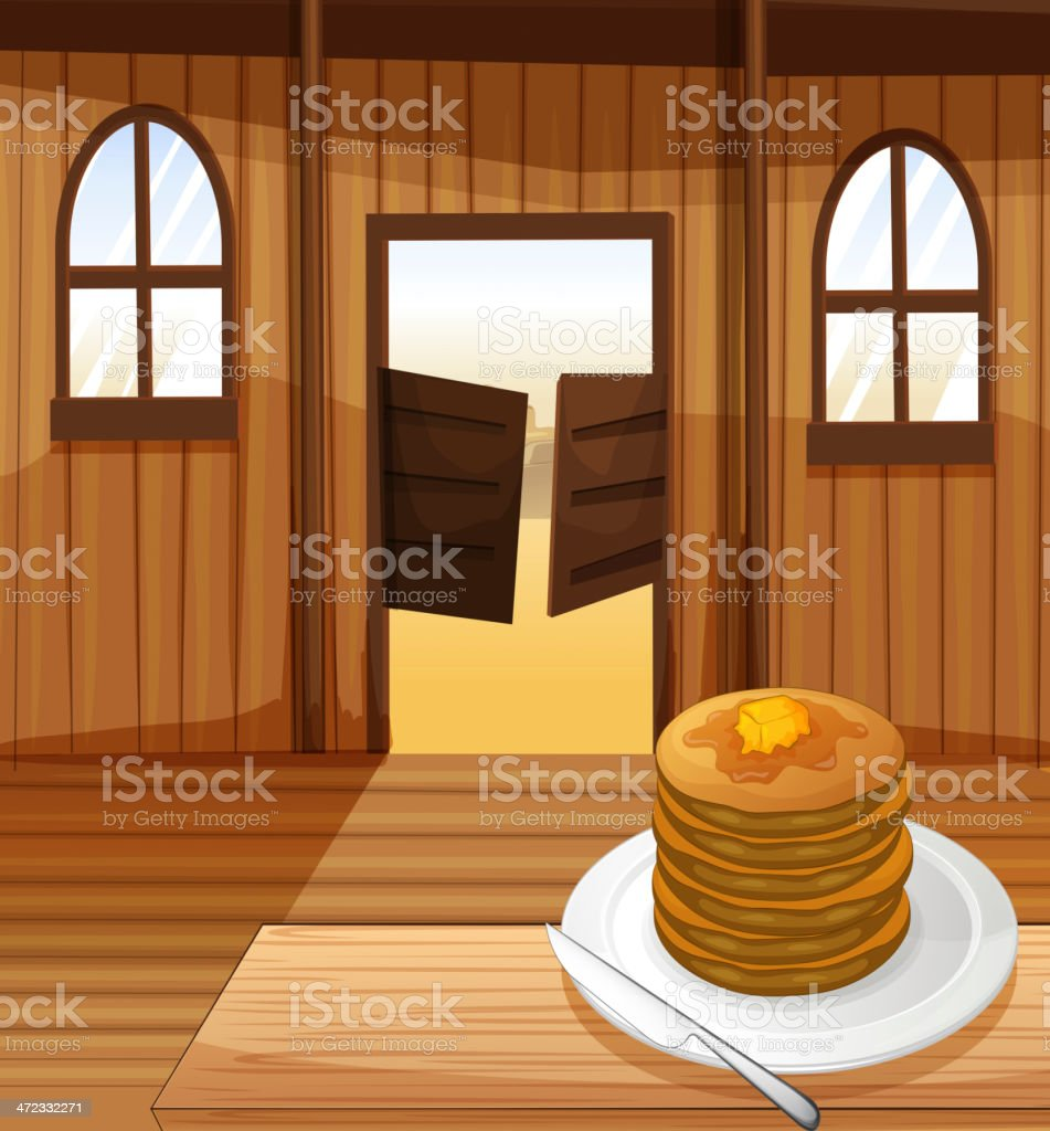 Plate with pancakes royalty-free stock vector art