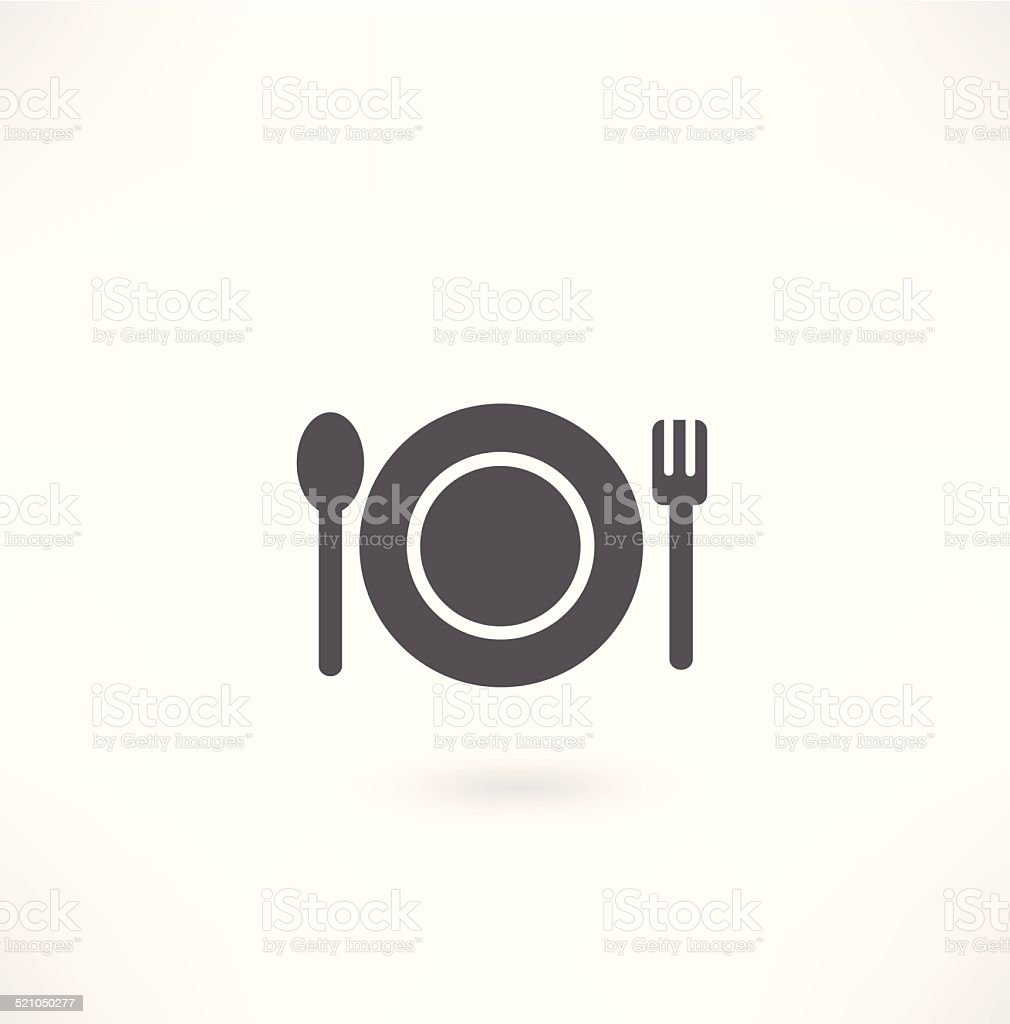 plate with spoon and fork icon vector art illustration