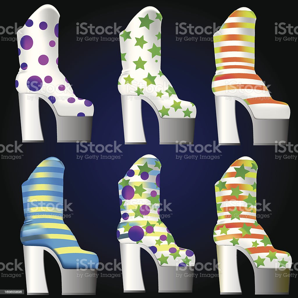 Plateau Boots Glam Rock royalty-free stock vector art