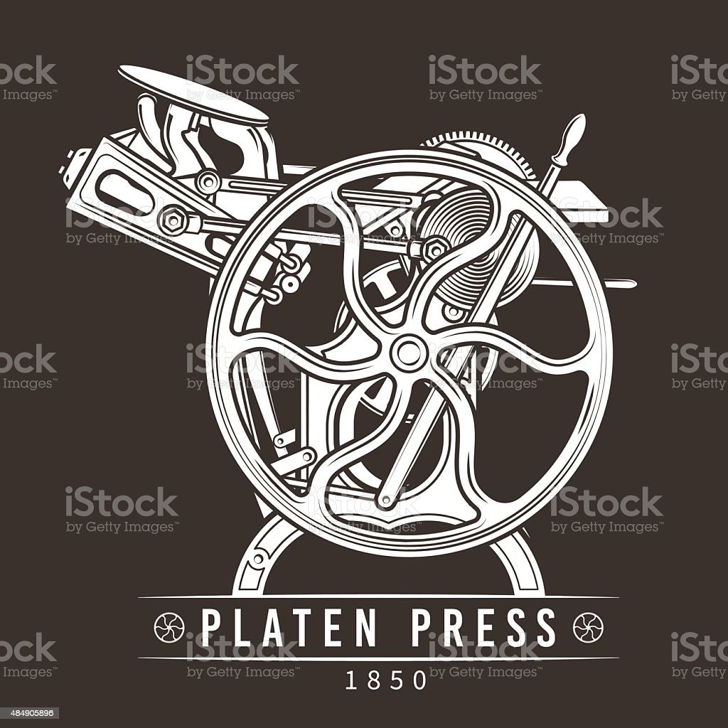 Platen press vector illustration. Old letterpress logo design. Vintage printing vector art illustration