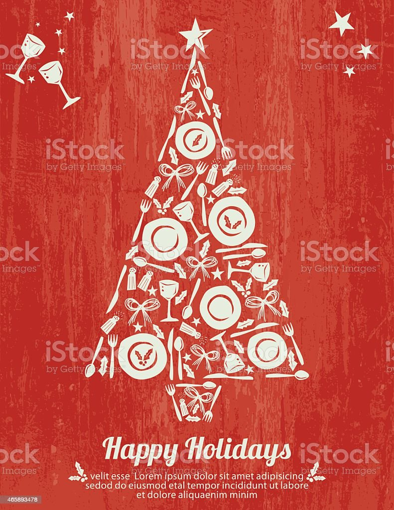 Plates and Cutlery Tree Design Happy Holiday Poster on Woodgrain vector art illustration