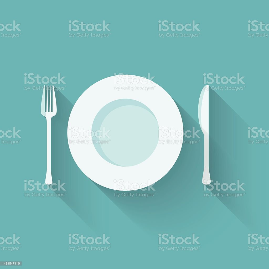 Plates and cutlery with long shadows vector art illustration