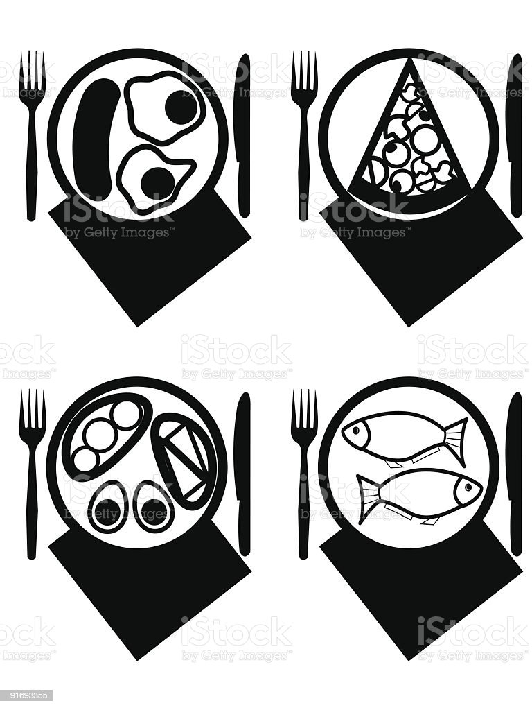Plates with meal royalty-free stock vector art