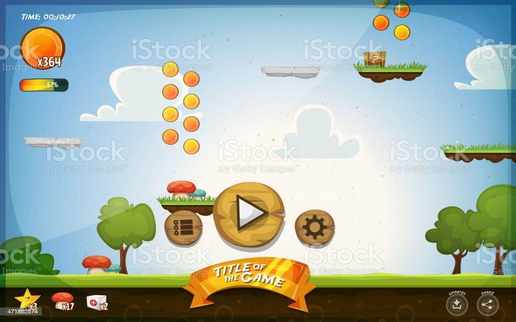 Platform Game User Interface For Tablet vector art illustration