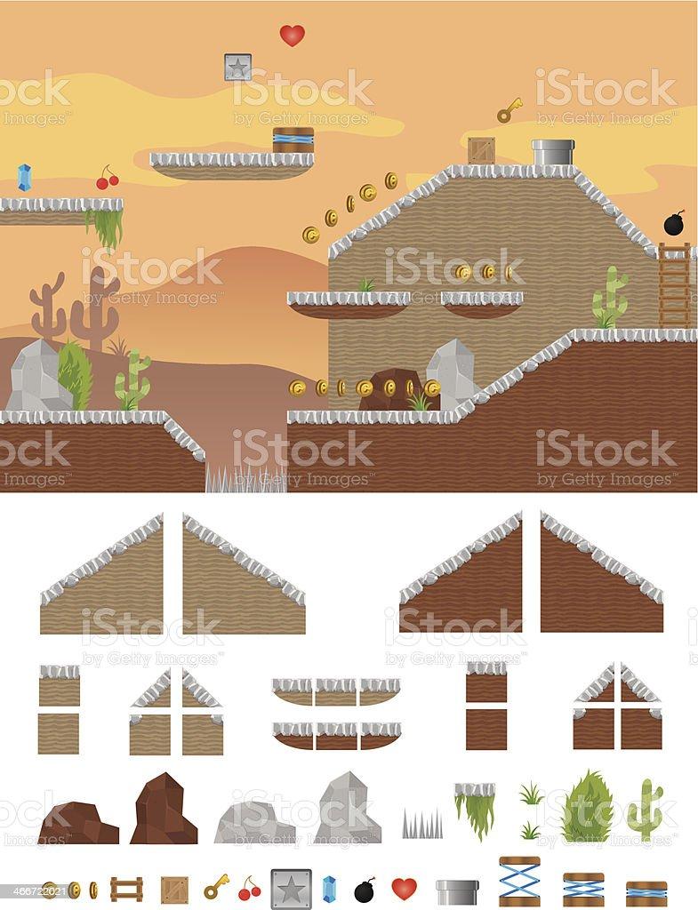 Platform Game Western vector art illustration