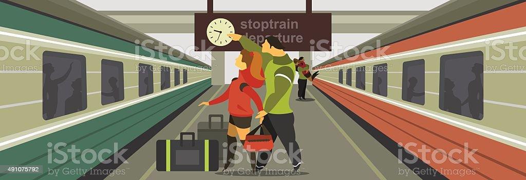 platform with train vector art illustration