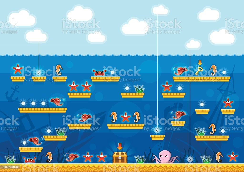 2D Platformer Computer Game Under the Sea vector art illustration