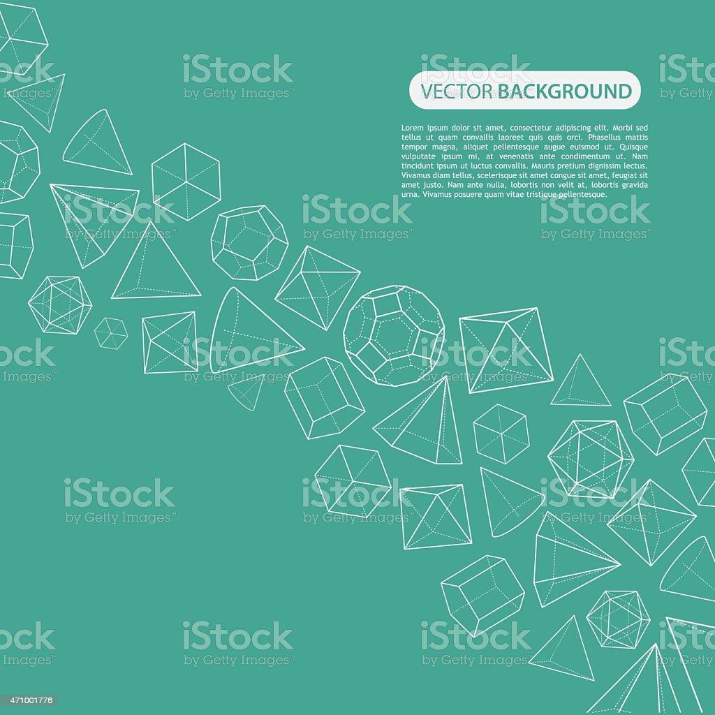 Platonic solids flow background vector art illustration
