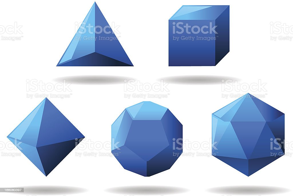 Platonic Solids Set royalty-free stock vector art