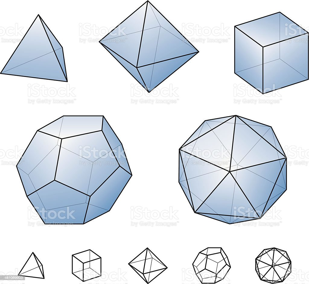 Platonic Solids With Blue Surfaces vector art illustration