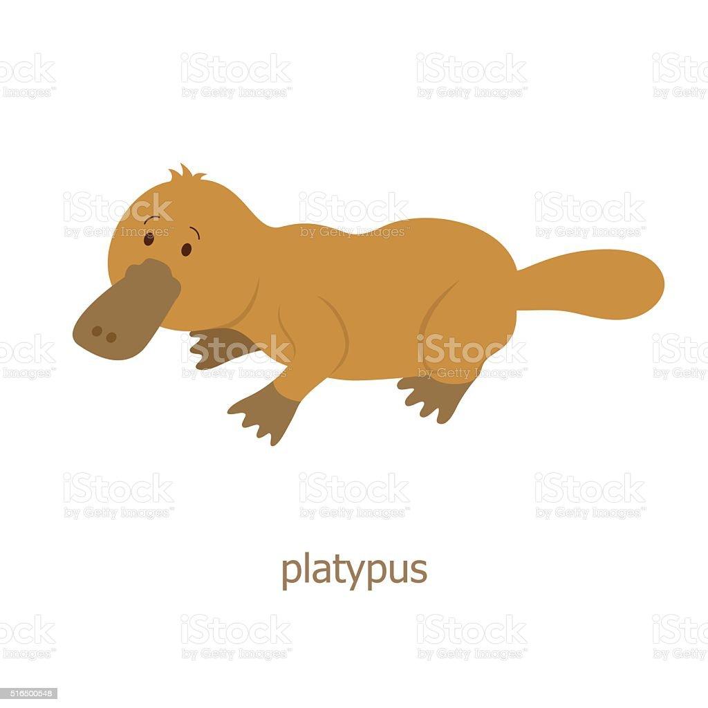 Platypus. Cartoon character vector art illustration