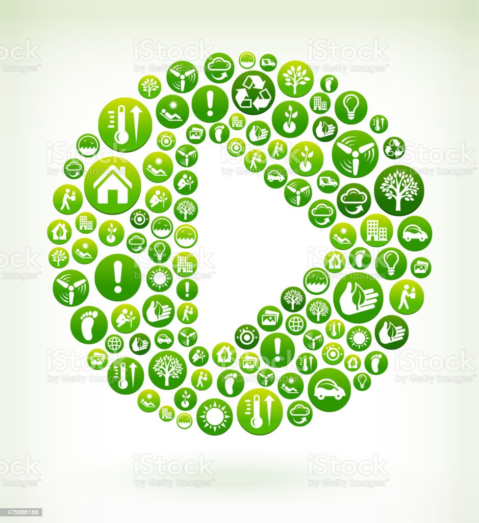 Play Button Environmental Conservation Green Vector Button Pattern. vector art illustration
