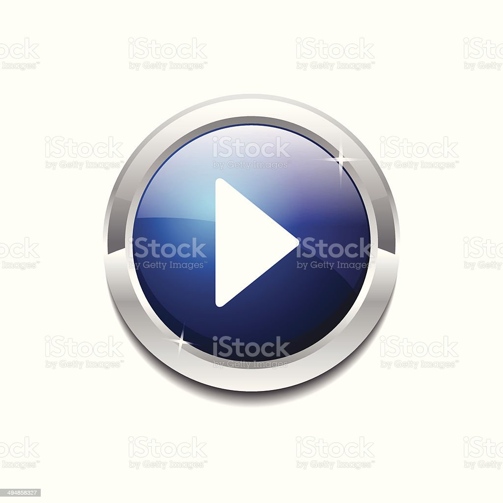 Play Circular Vector Blue Web Icon Button vector art illustration