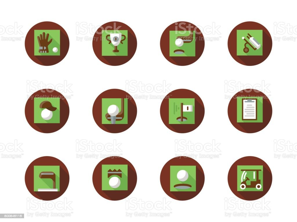 Play golf round flat color vector icons set vector art illustration