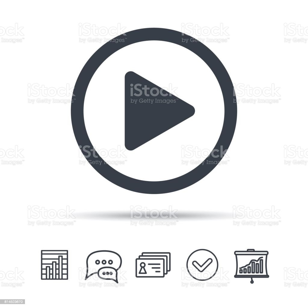 Play icon. Audio or Video player sign. vector art illustration