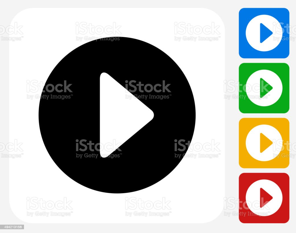 Play Icon Flat Graphic Design vector art illustration
