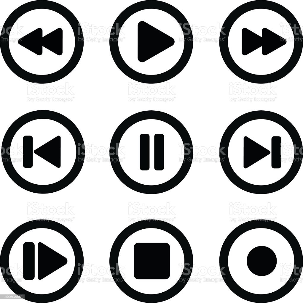 play icon set1 vector art illustration
