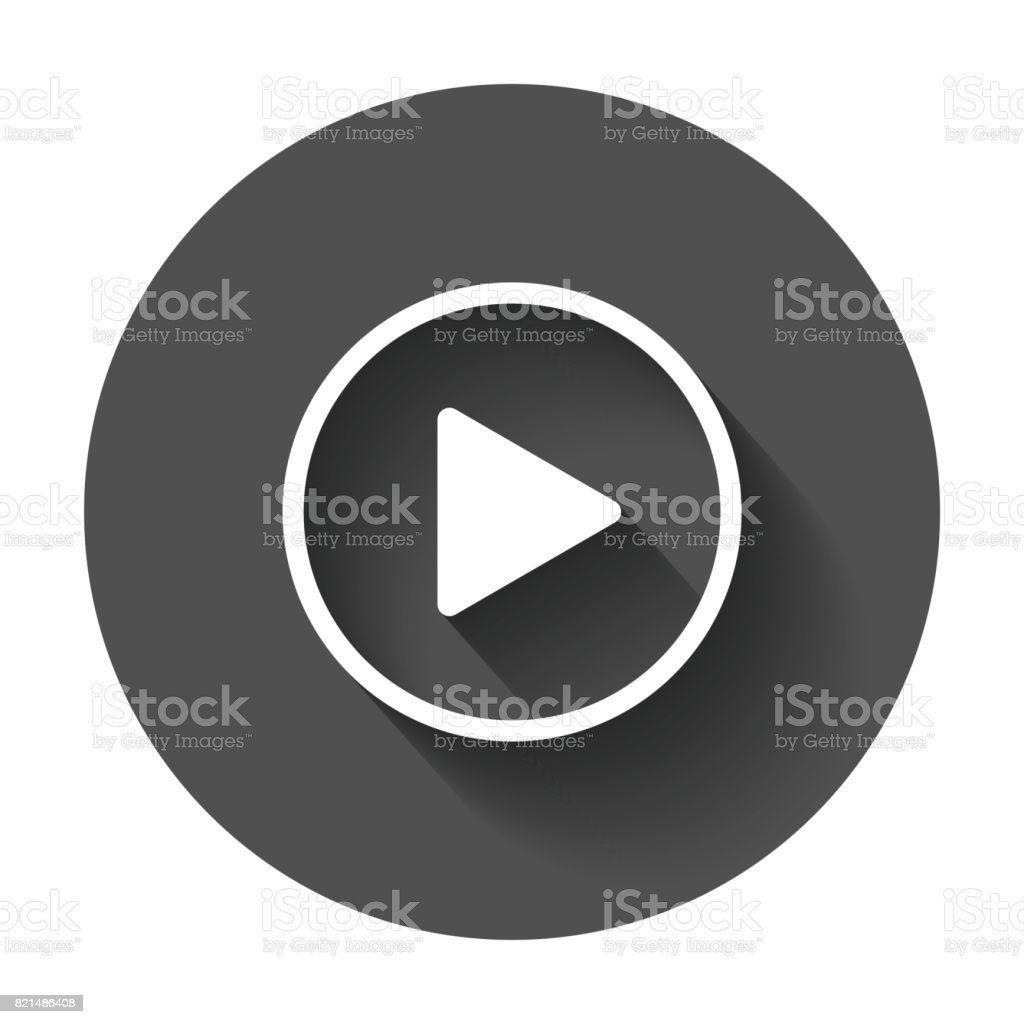Play icon vector. Play video illustration in flat style on black round background with long shadow. vector art illustration