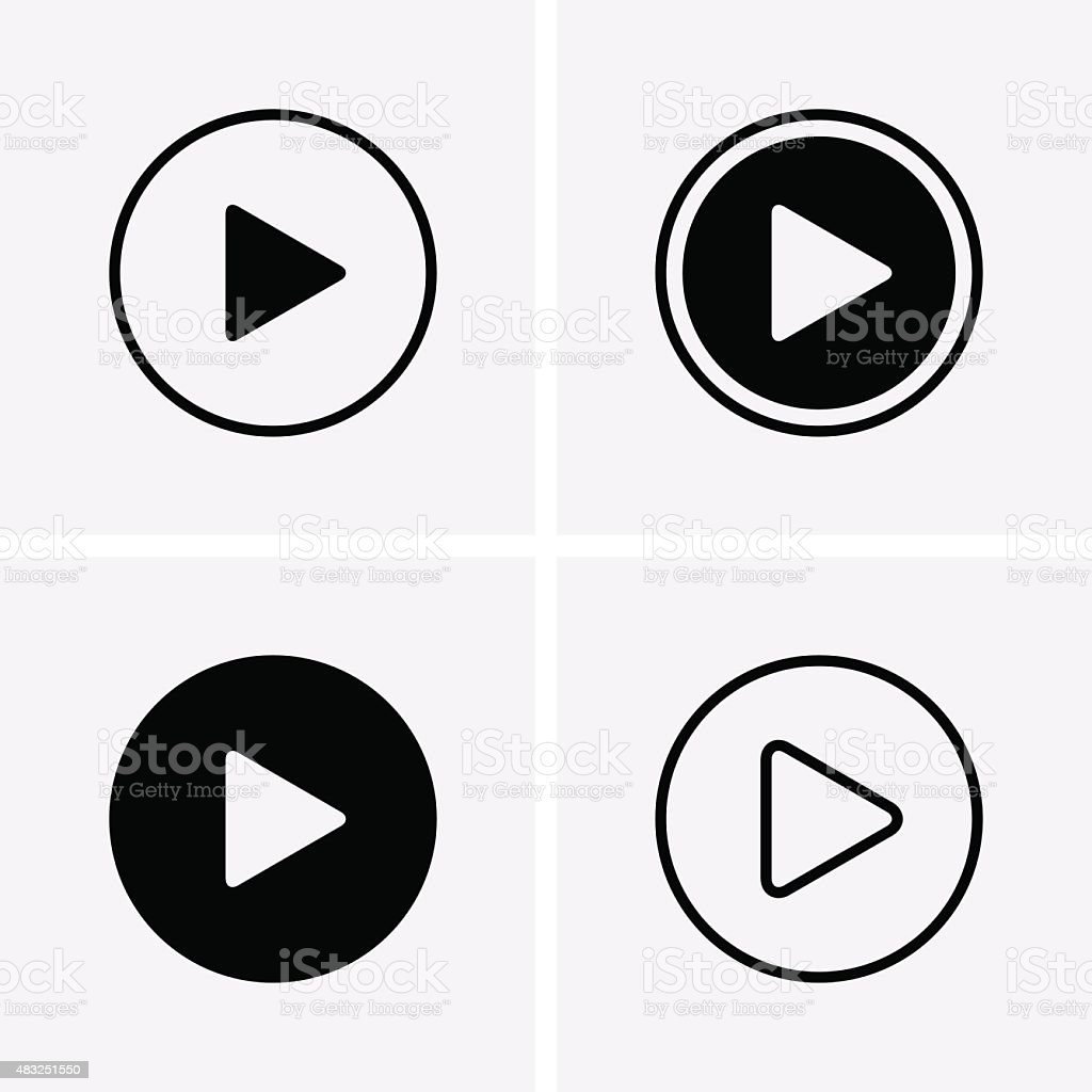 Play Icons vector art illustration