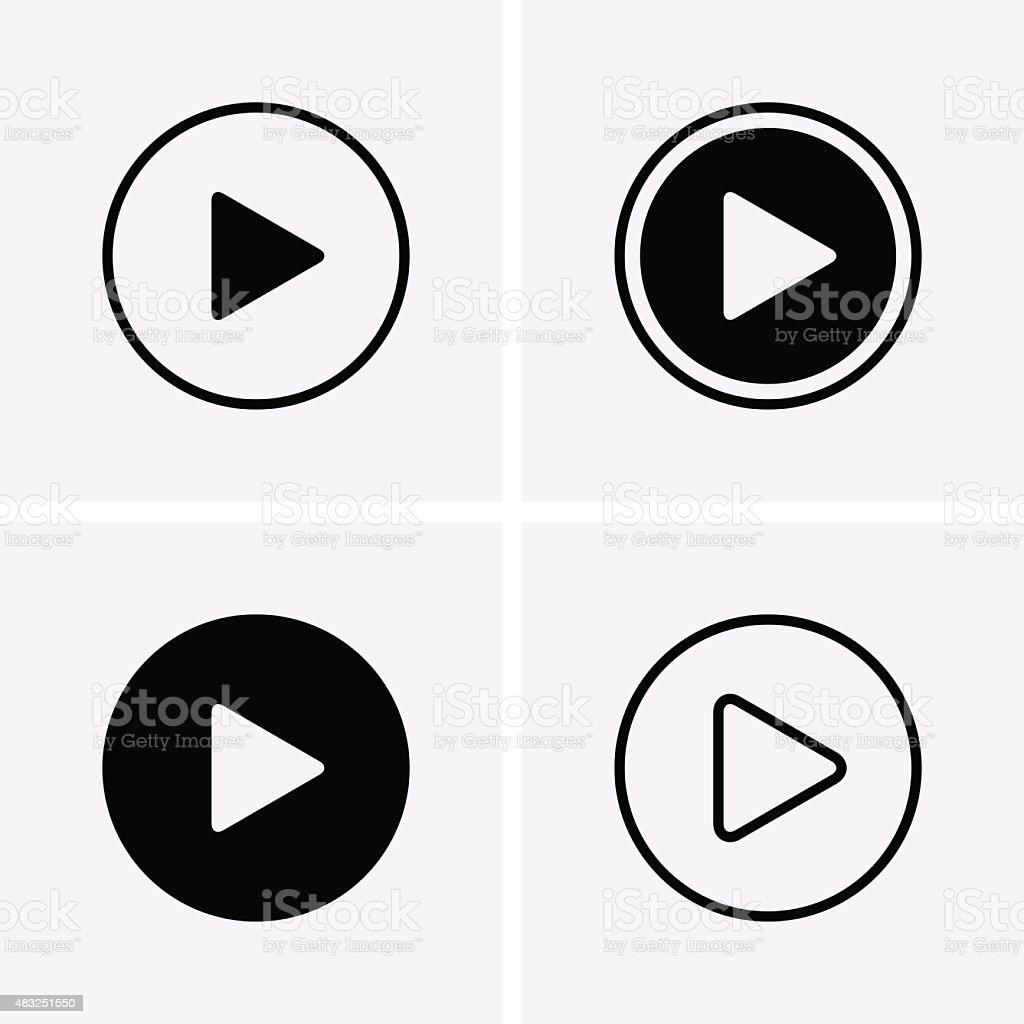 Play Icons vector art illustration
