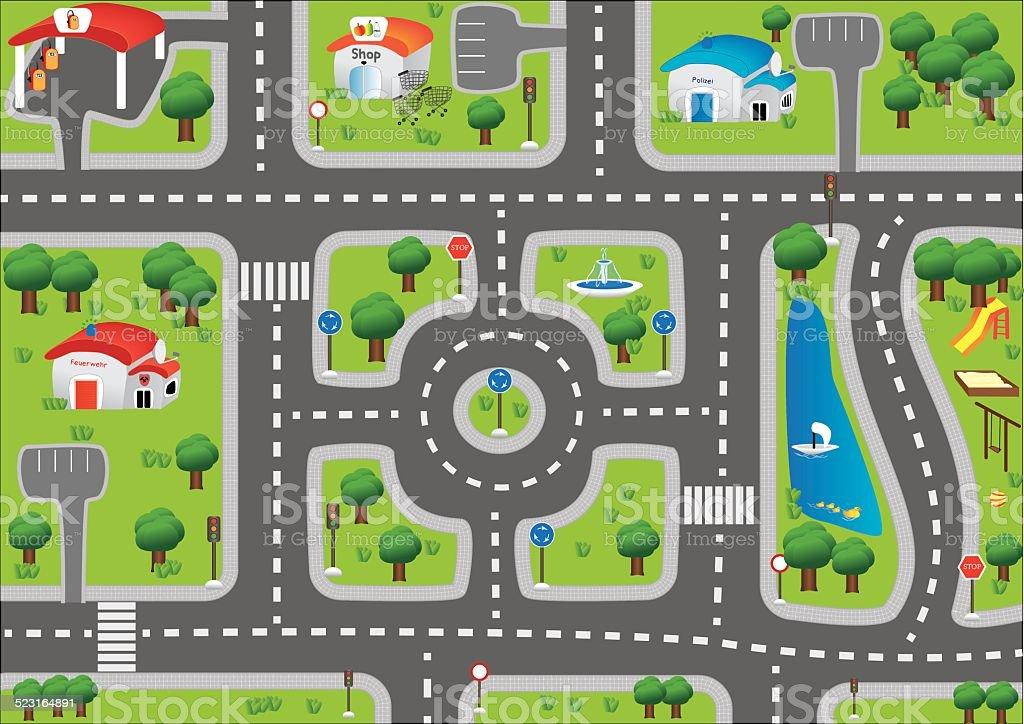 Play mat car carpet for Kids vector art illustration