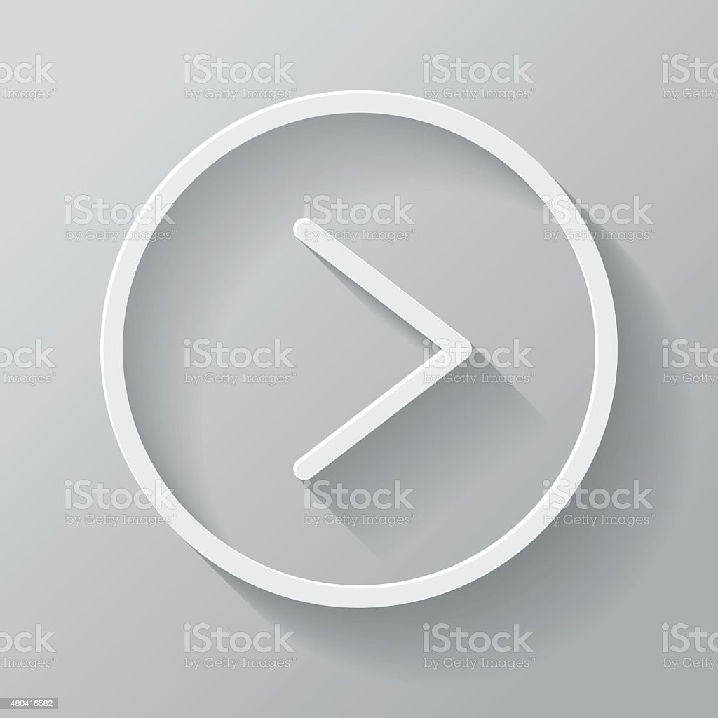 Play Paper Thin Line Interface Icon With Long Shadow vector art illustration