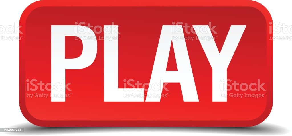 Play red 3d square button isolated on white vector art illustration