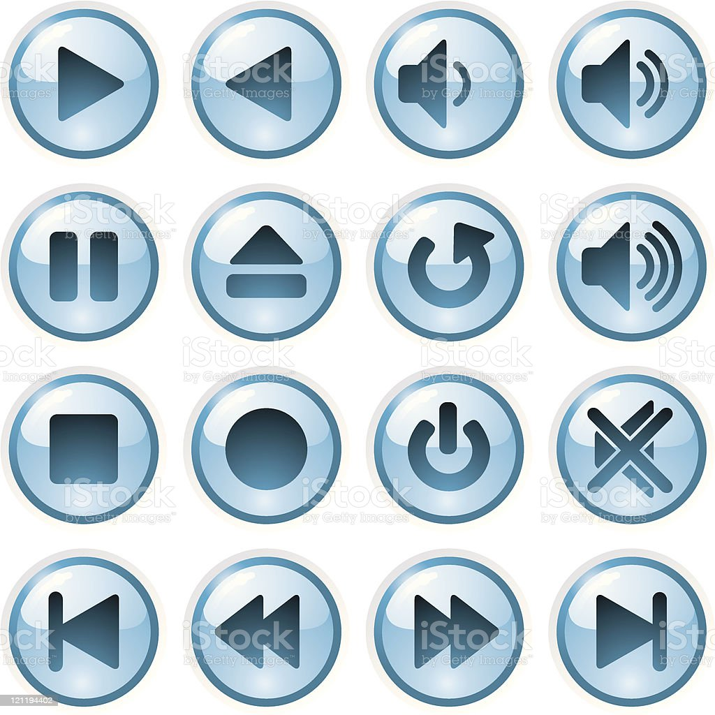 Playback control buttons royalty-free stock vector art