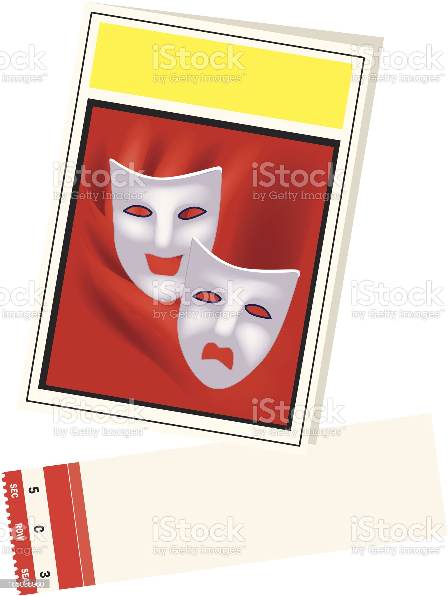 Playbill and ticket with area for personalization royalty-free stock vector art