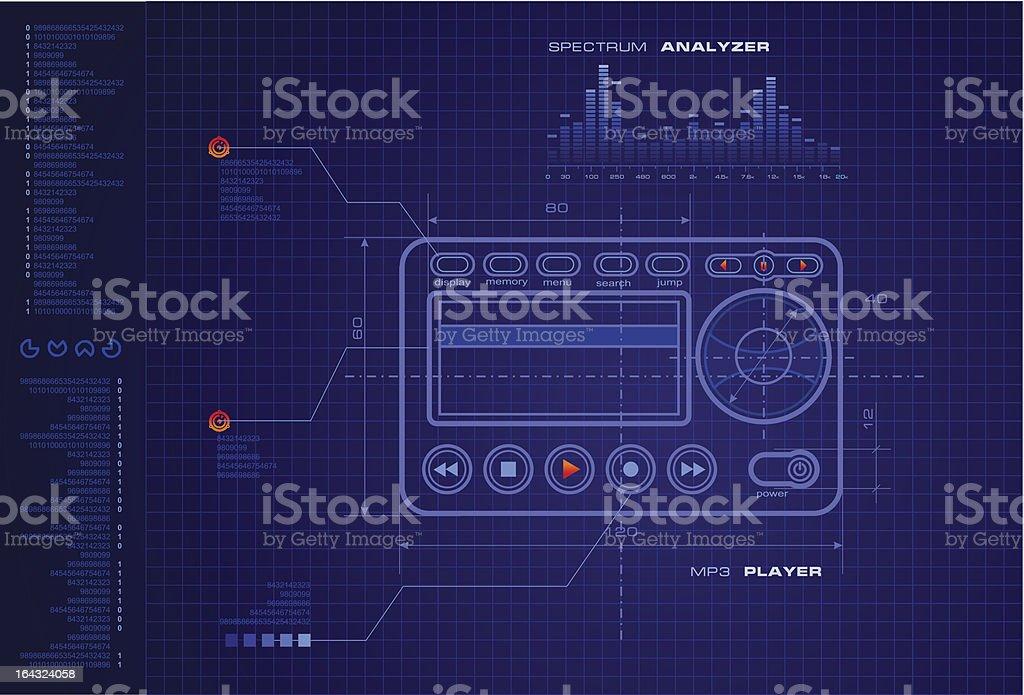 MP3 player blueprint royalty-free stock vector art
