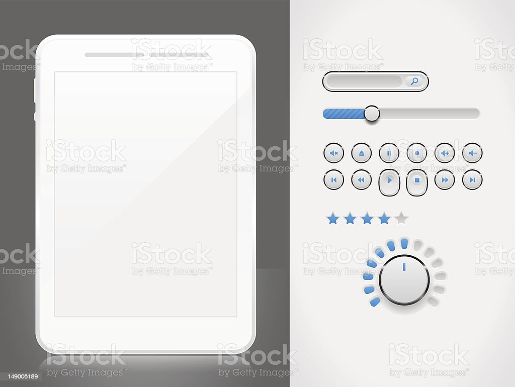 MP3 player elements for Tablet PC royalty-free stock vector art