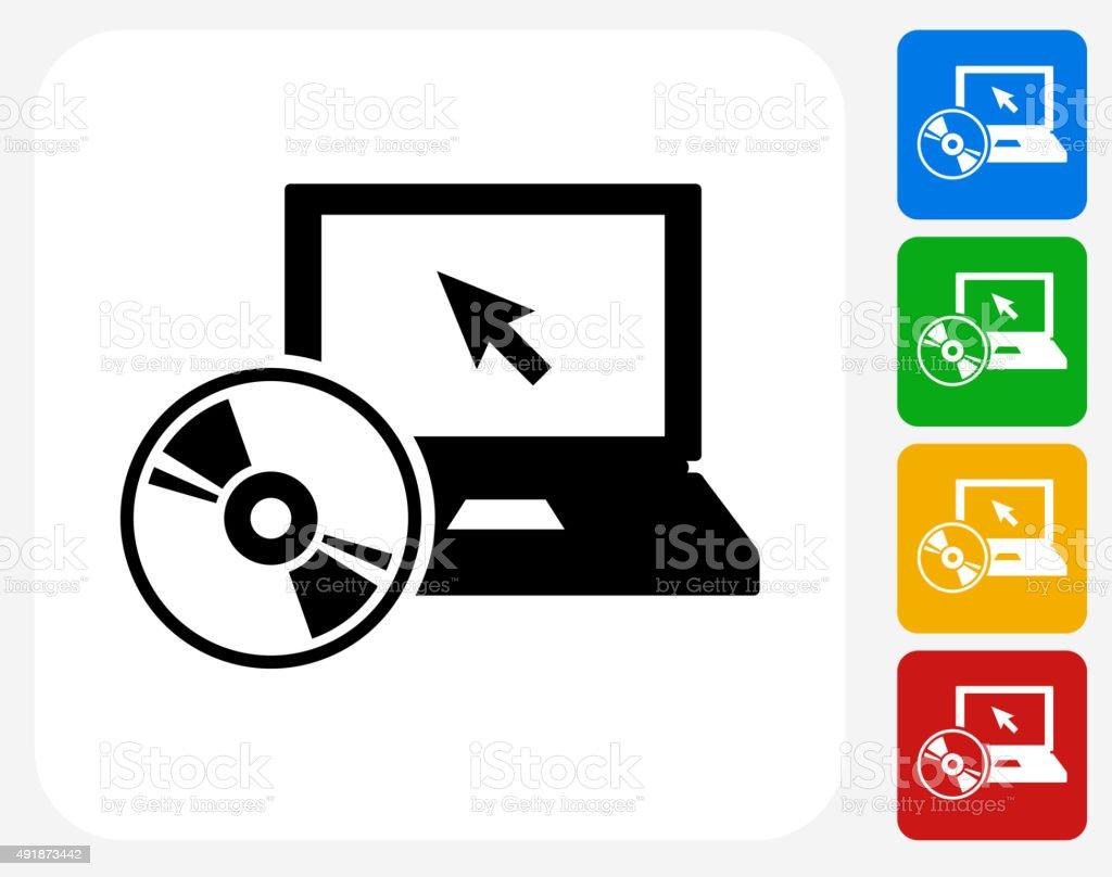 DVD Player Icon Flat Graphic Design vector art illustration