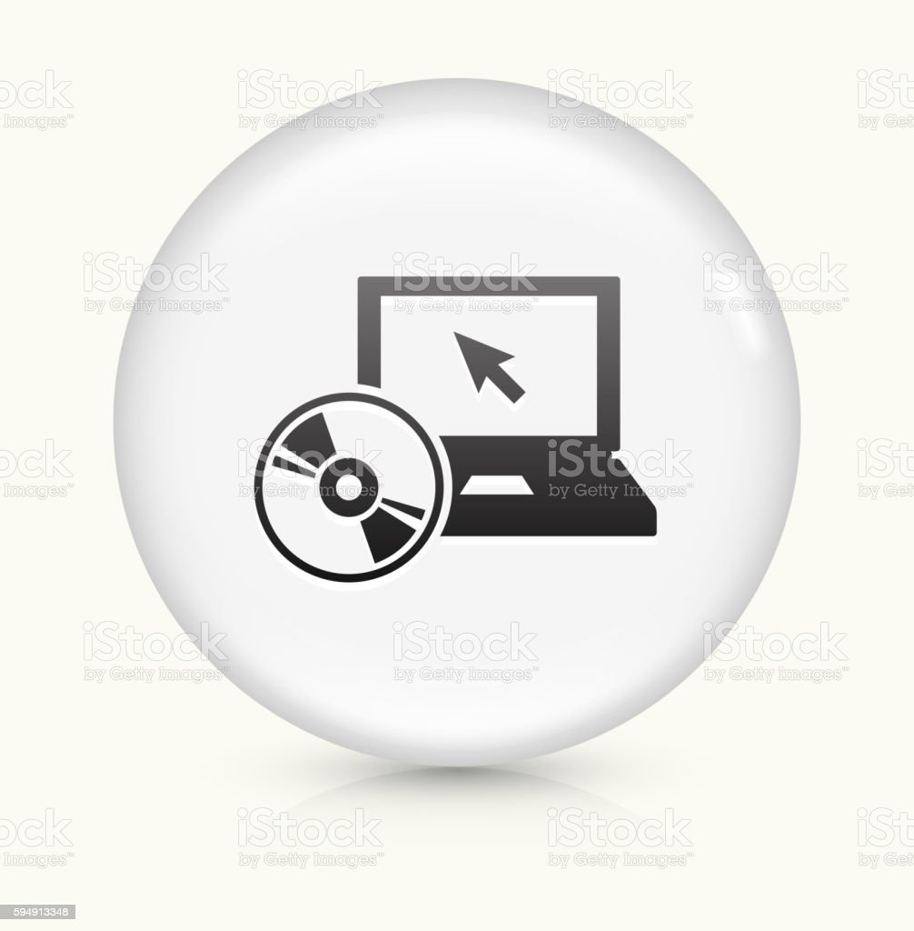 DVD Player icon on white round vector button vector art illustration