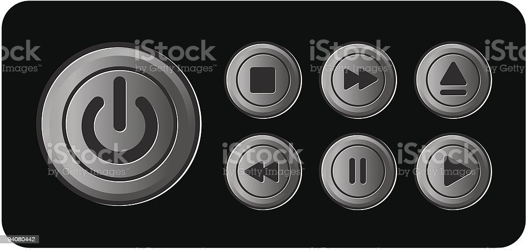 Player icons buttons metal vector royalty-free stock vector art