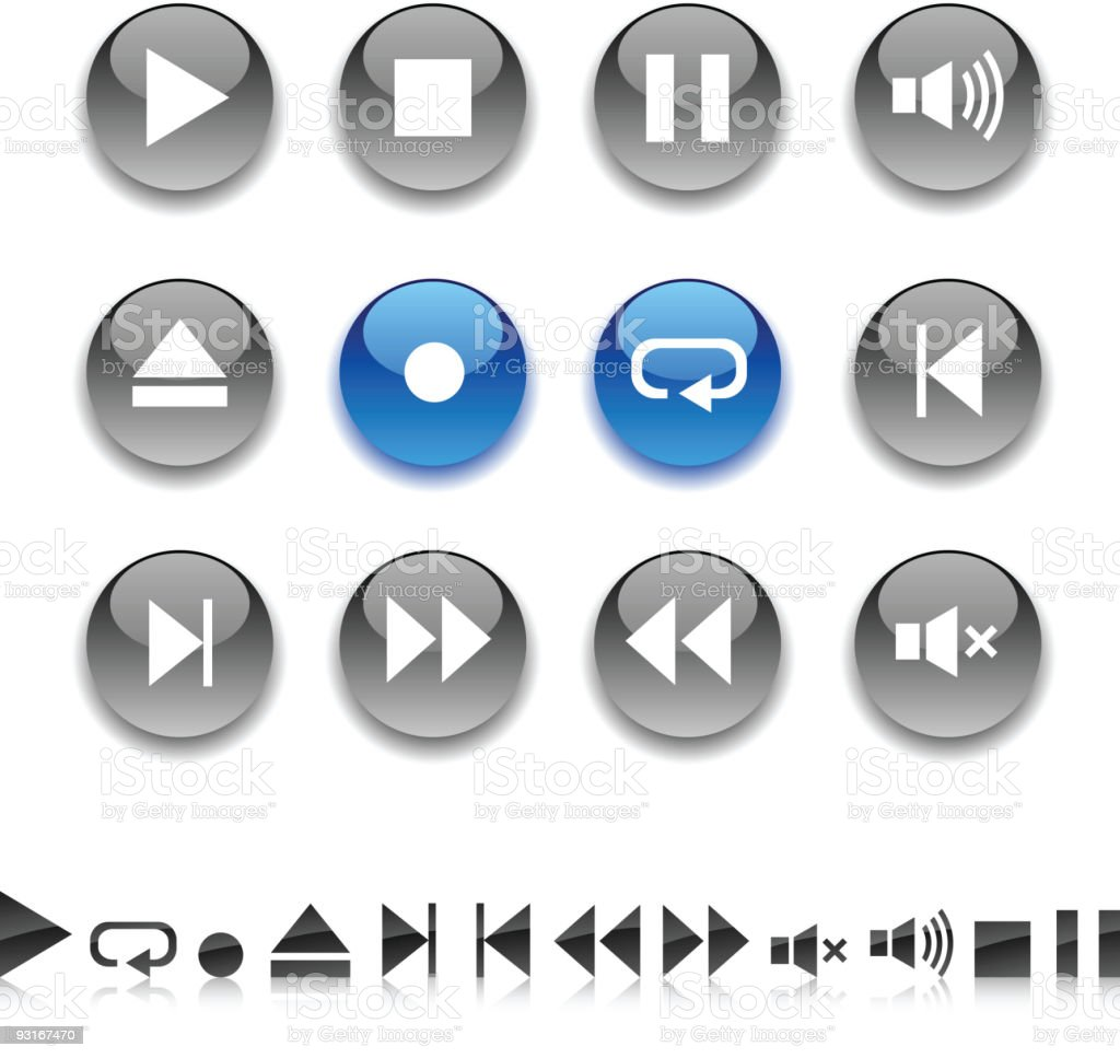 Player icons. royalty-free stock vector art