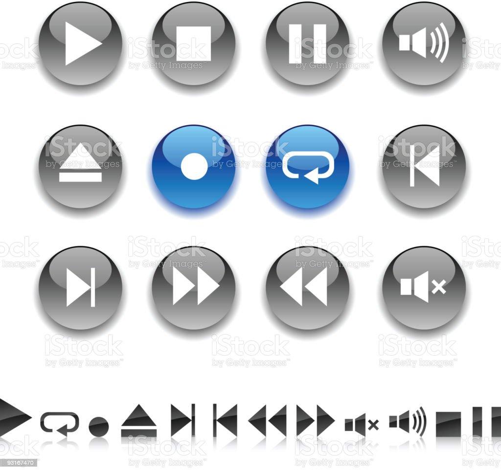 Player icons. vector art illustration