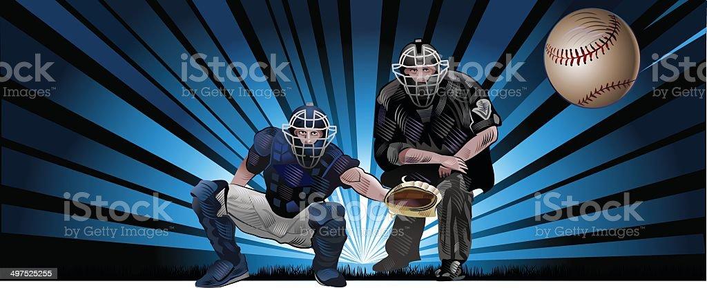 player in baseball. cacher vector art illustration